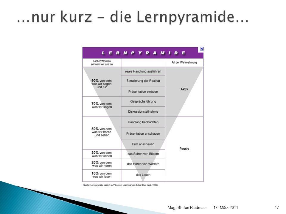 …nur kurz - die Lernpyramide…