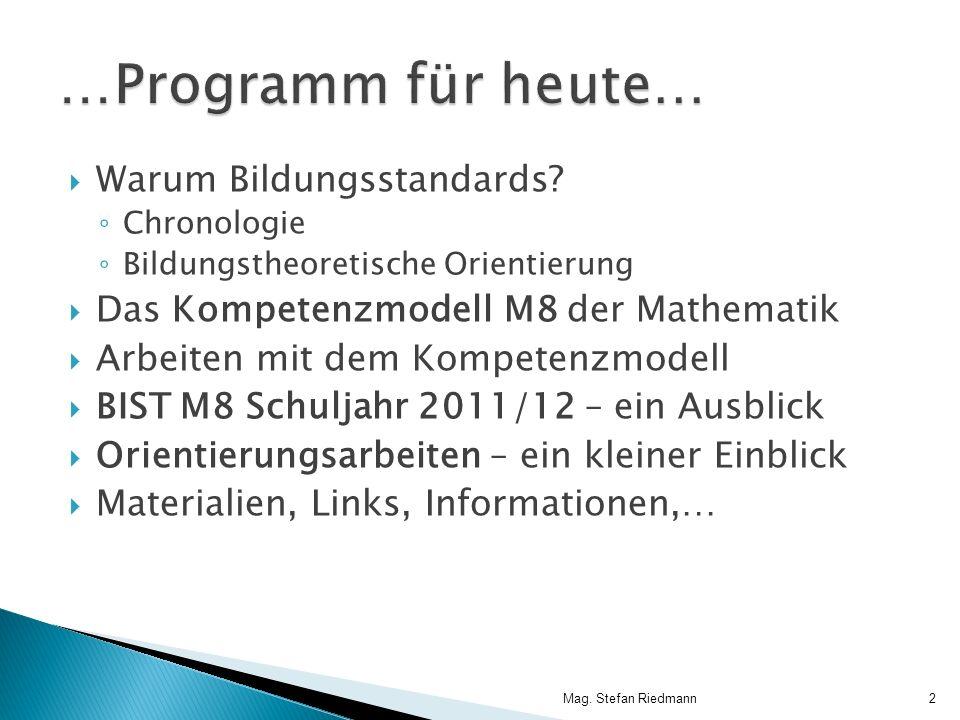 …Programm für heute… Warum Bildungsstandards