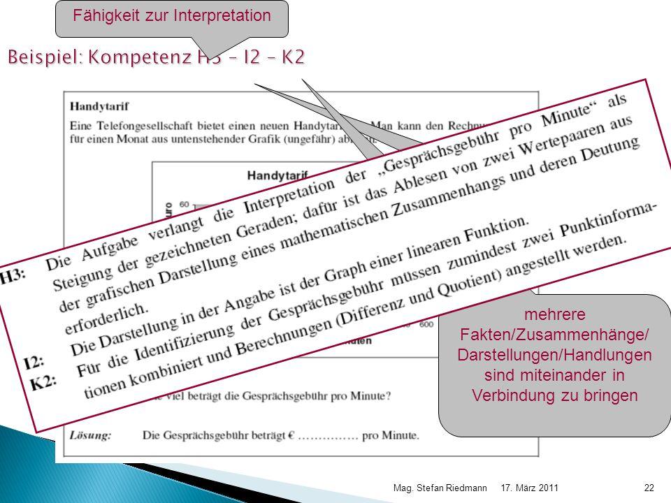 Beispiel: Kompetenz H3 – I2 – K2