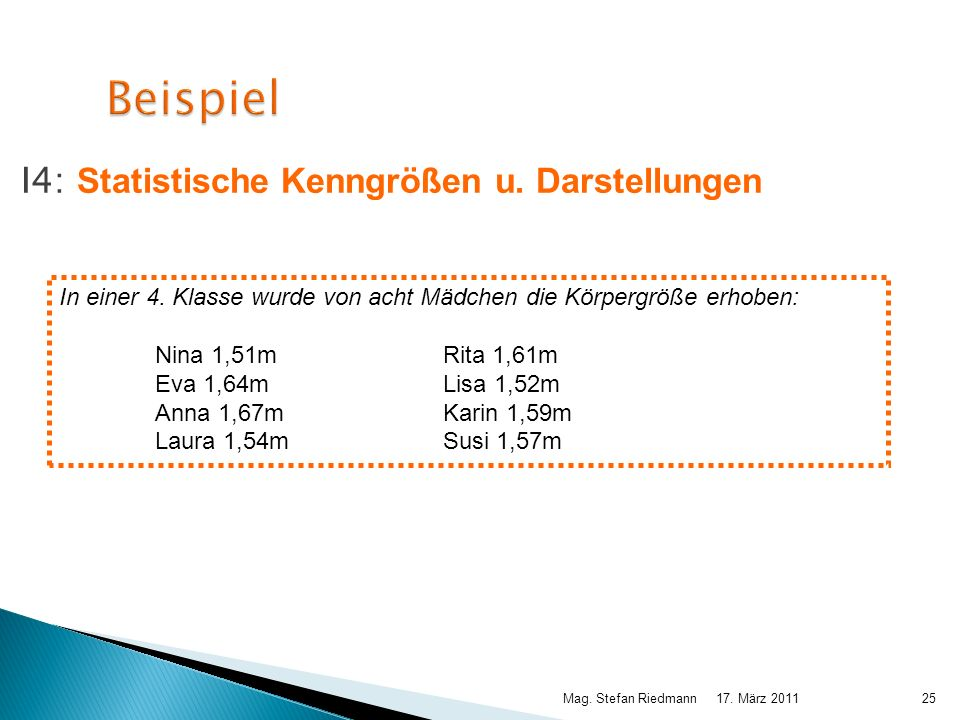 Beispiel I4: Statistische Kenngrößen u. Darstellungen