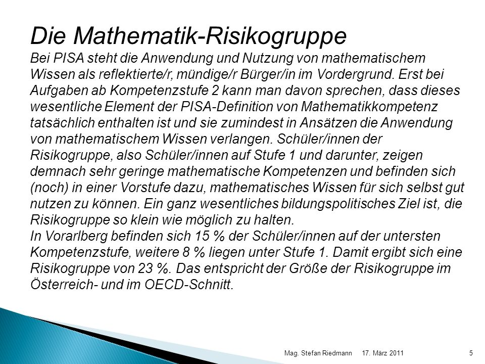 Die Mathematik-Risikogruppe