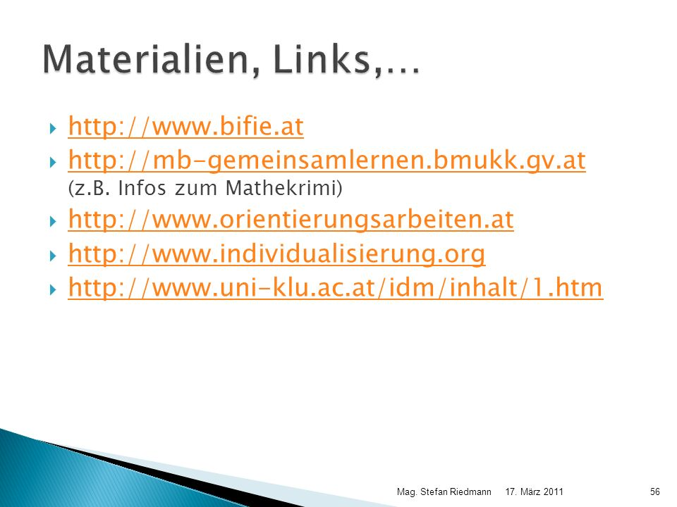 Materialien, Links,… http://www.bifie.at