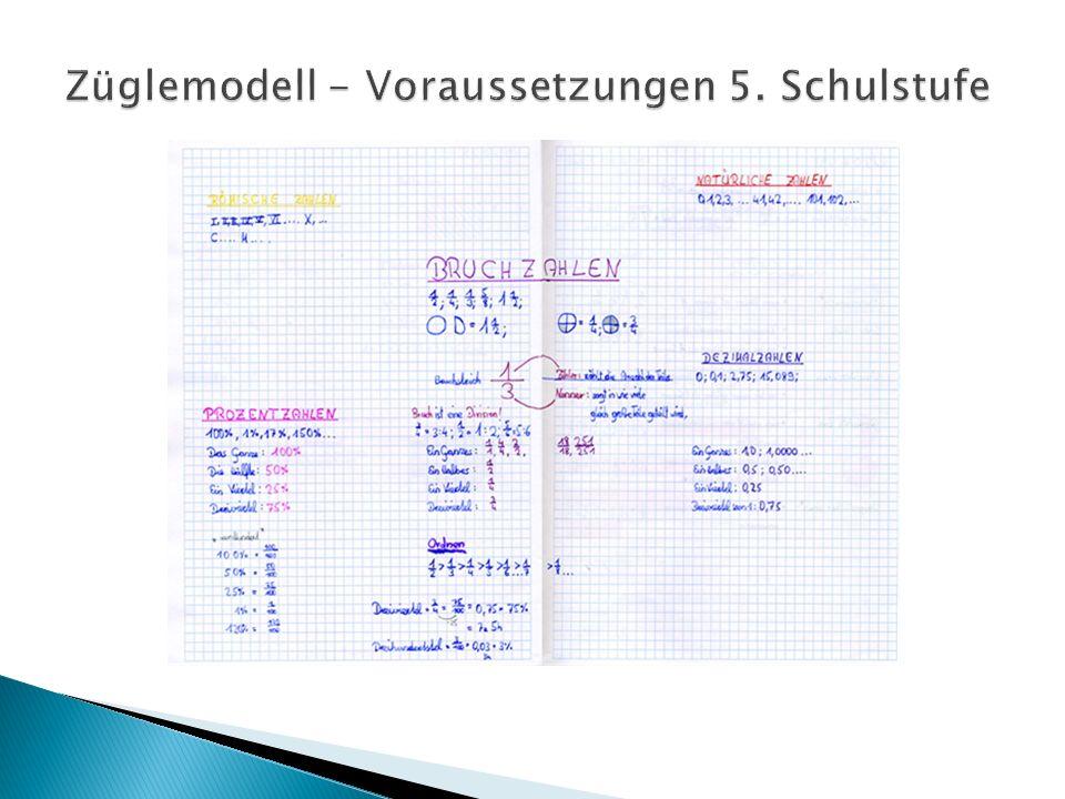 Züglemodell - Voraussetzungen 5. Schulstufe