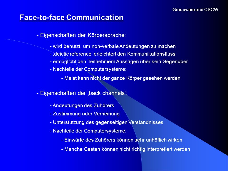 Face-to-face Communication