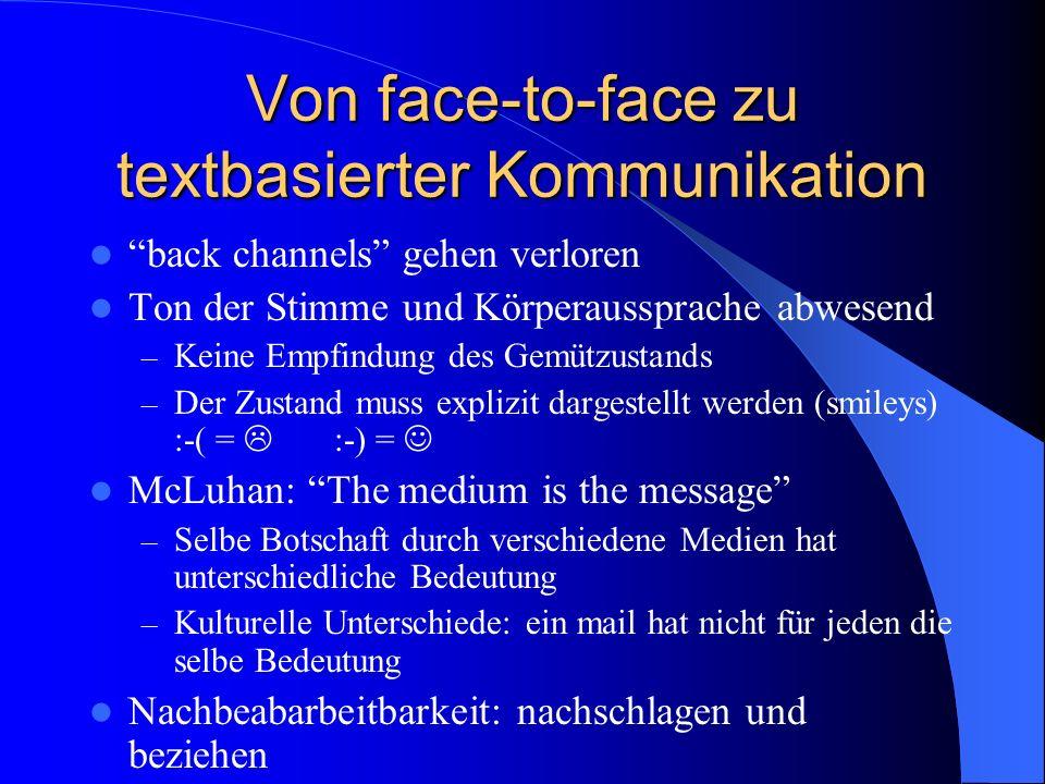 Von face-to-face zu textbasierter Kommunikation