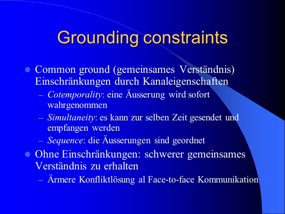 Grounding constraints