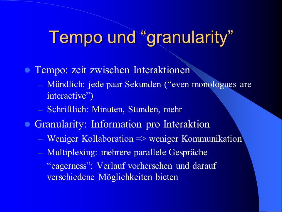 Tempo und granularity
