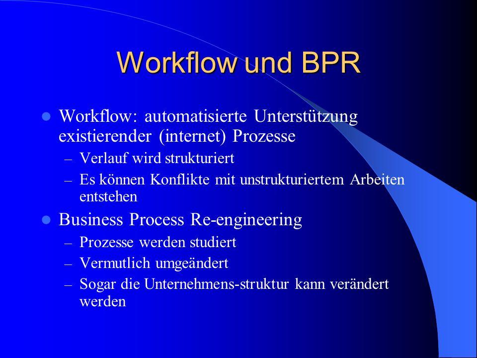 Workflow und BPR Workflow: automatisierte Unterstützung existierender (internet) Prozesse. Verlauf wird strukturiert.