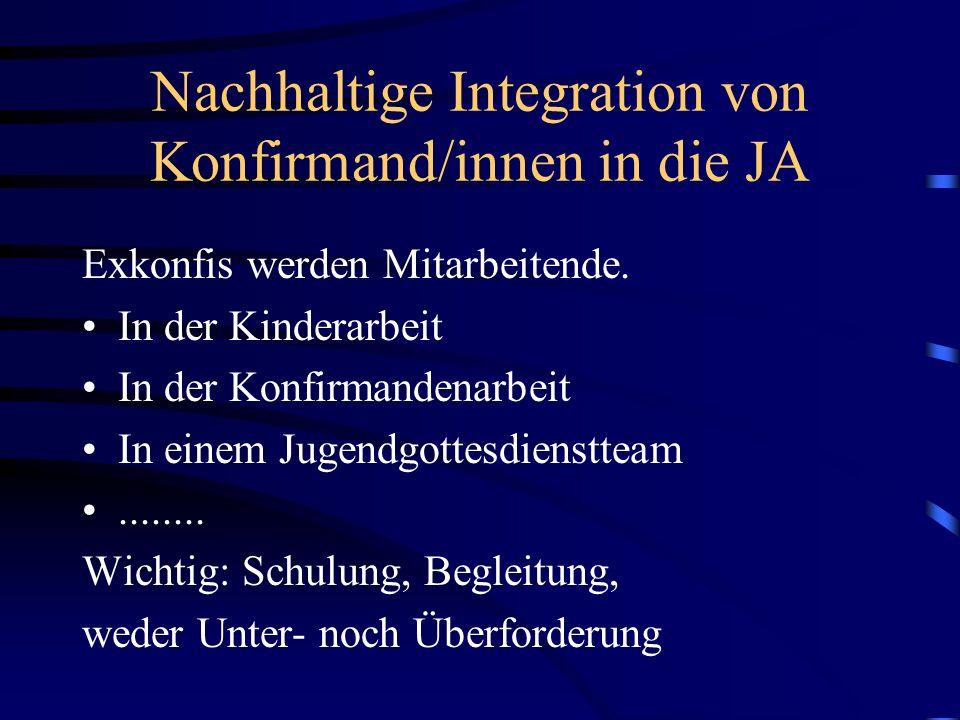 Nachhaltige Integration von Konfirmand/innen in die JA