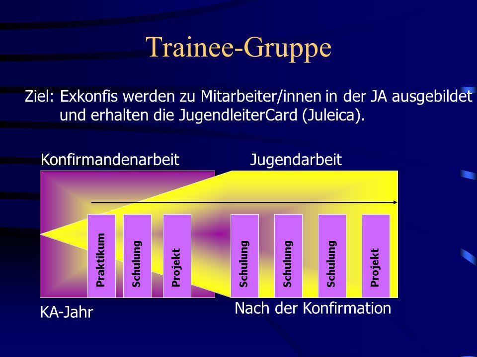 Trainee-Gruppe Ziel: Exkonfis werden zu Mitarbeiter/innen in der JA ausgebildet. und erhalten die JugendleiterCard (Juleica).