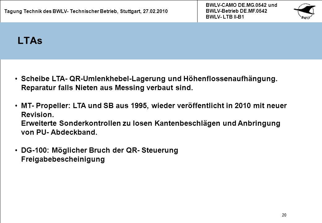 BWLV-CAMO DE.MG.0542 undBWLV-Betrieb DE.MF.0542 BWLV- LTB II-B1. Tagung Technik des BWLV- Technischer Betrieb, Stuttgart, 27.02.2010.