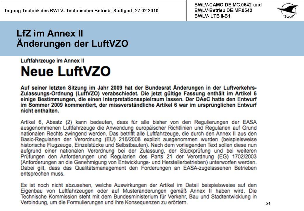 LfZ im Annex II Änderungen der LuftVZO