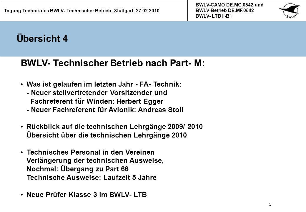 BWLV- Technischer Betrieb nach Part- M: