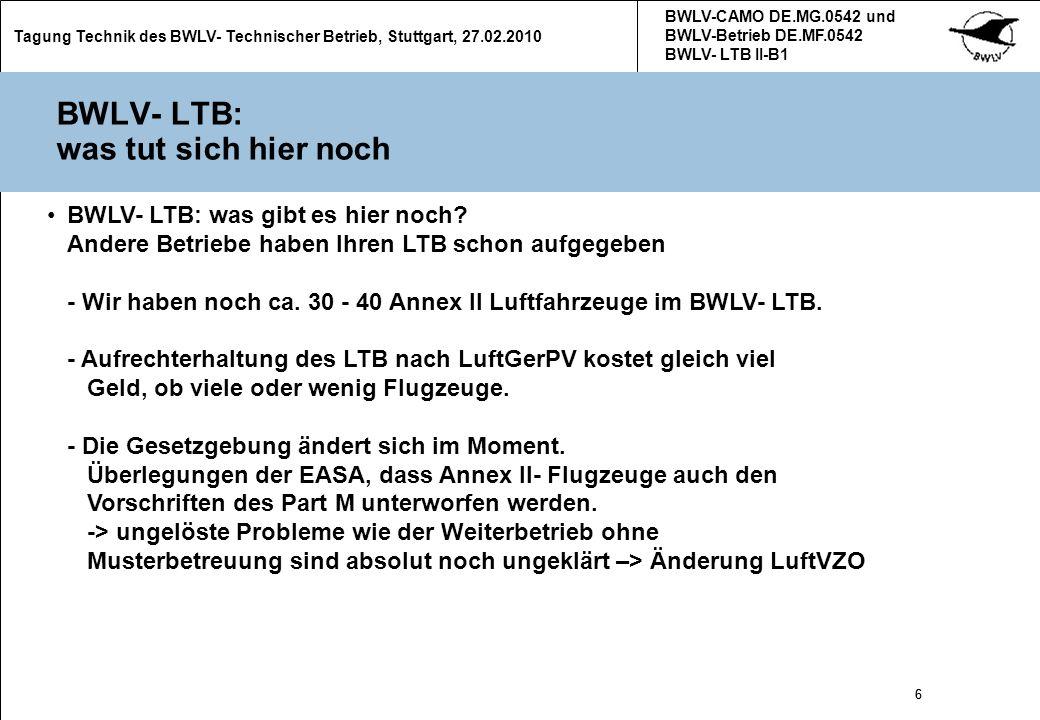 BWLV- LTB: was tut sich hier noch