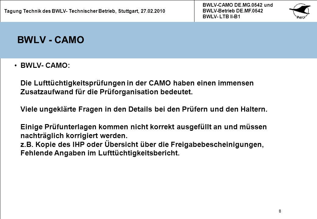 BWLV-CAMO DE.MG.0542 und BWLV-Betrieb DE.MF.0542 BWLV- LTB II-B1. Tagung Technik des BWLV- Technischer Betrieb, Stuttgart, 27.02.2010.