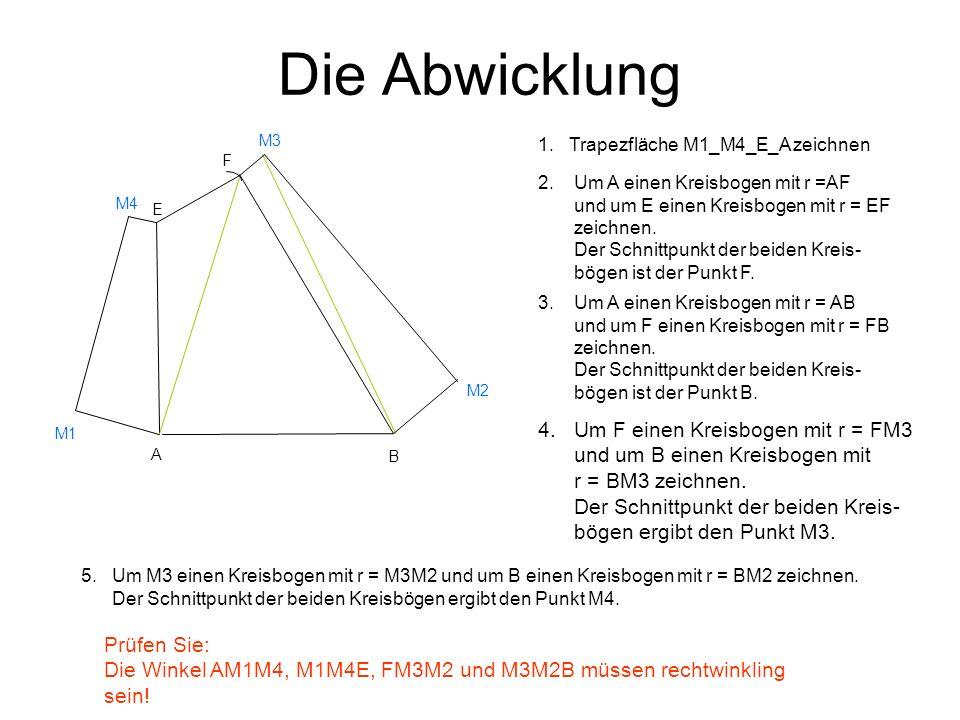 Die Abwicklung M3. 1. Trapezfläche M1_M4_E_A zeichnen. F.
