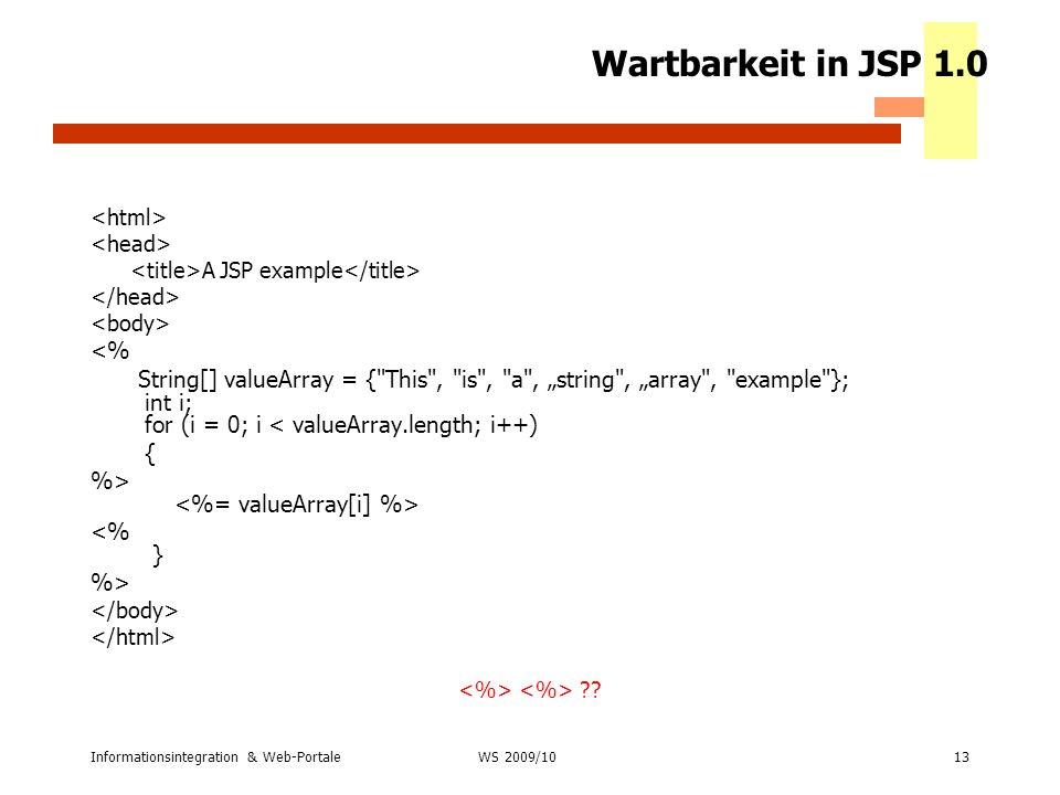 Wartbarkeit in JSP 1.0 <%