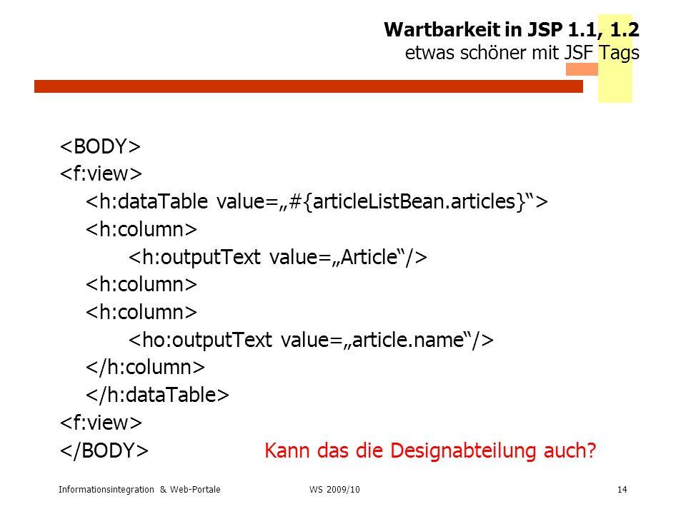 Wartbarkeit in JSP 1.1, 1.2 etwas schöner mit JSF Tags