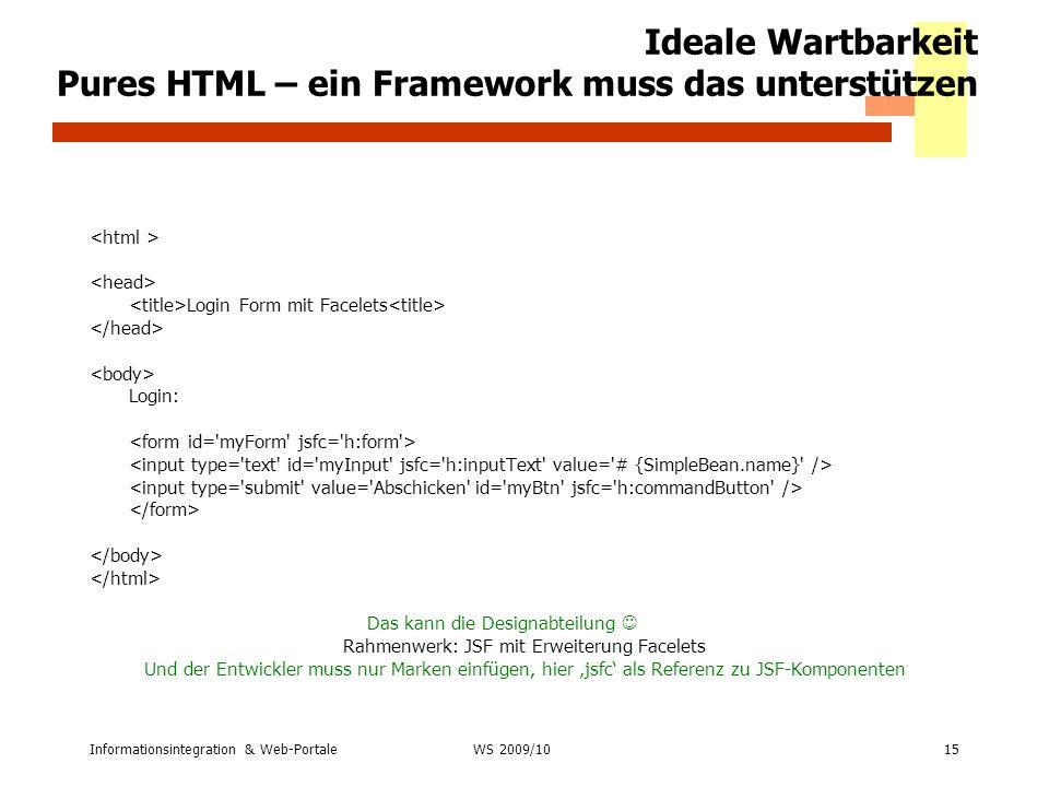 Ideale Wartbarkeit Pures HTML – ein Framework muss das unterstützen