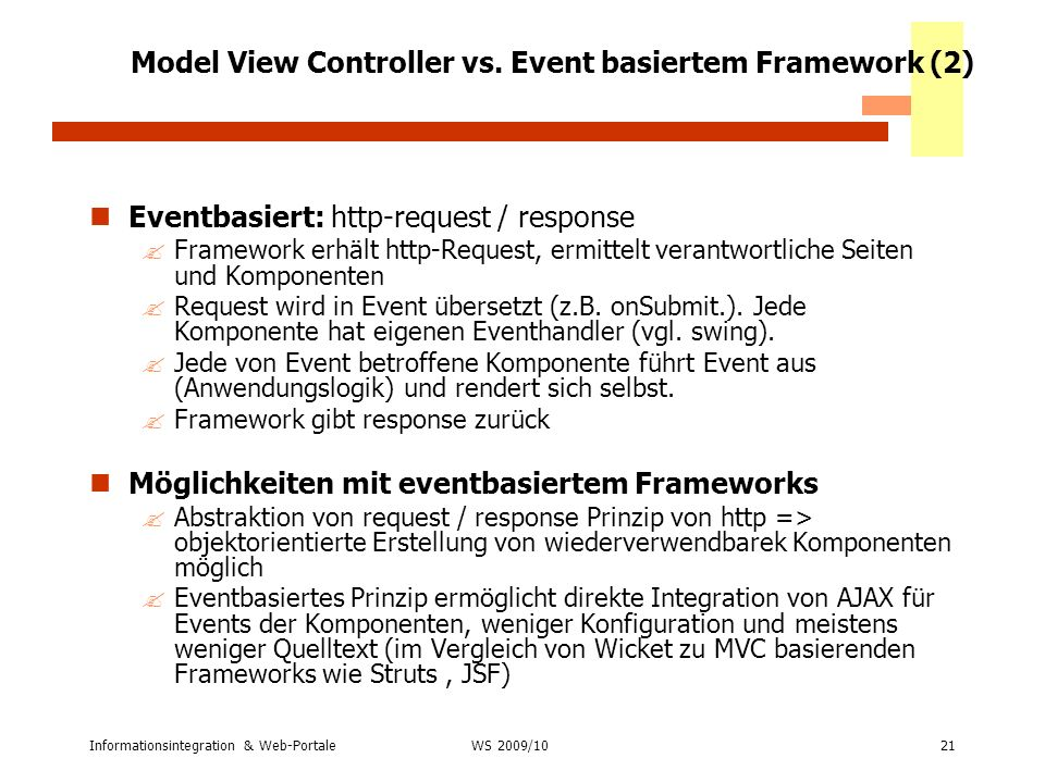Model View Controller vs. Event basiertem Framework (2)