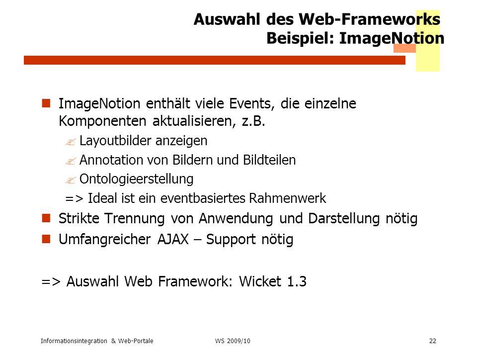 Auswahl des Web-Frameworks Beispiel: ImageNotion