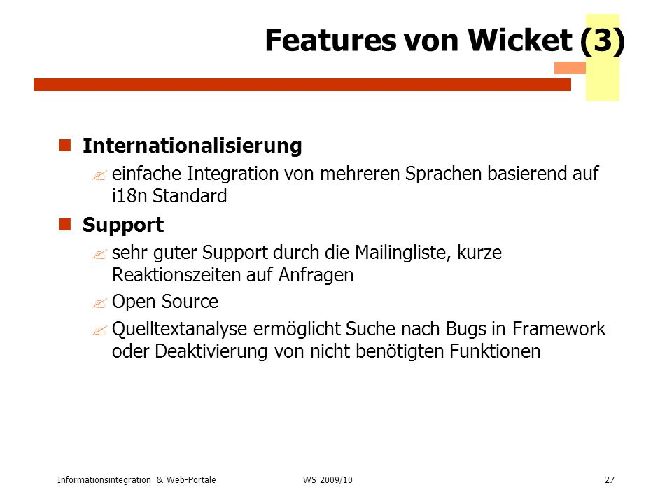 Features von Wicket (3) Internationalisierung Support