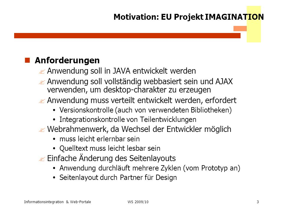 Motivation: EU Projekt IMAGINATION