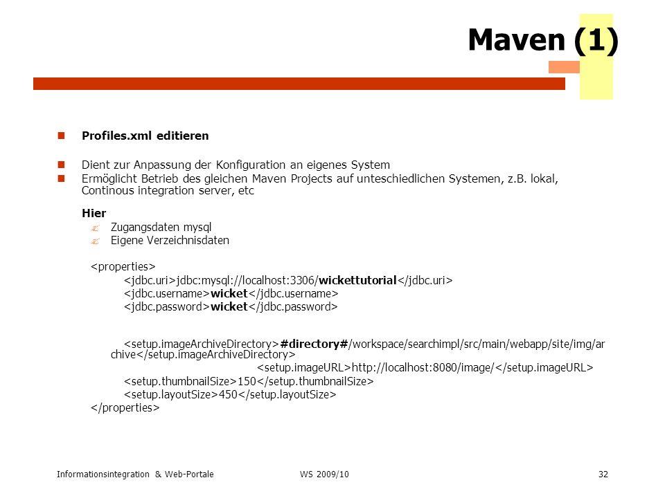 Maven (1) Profiles.xml editieren