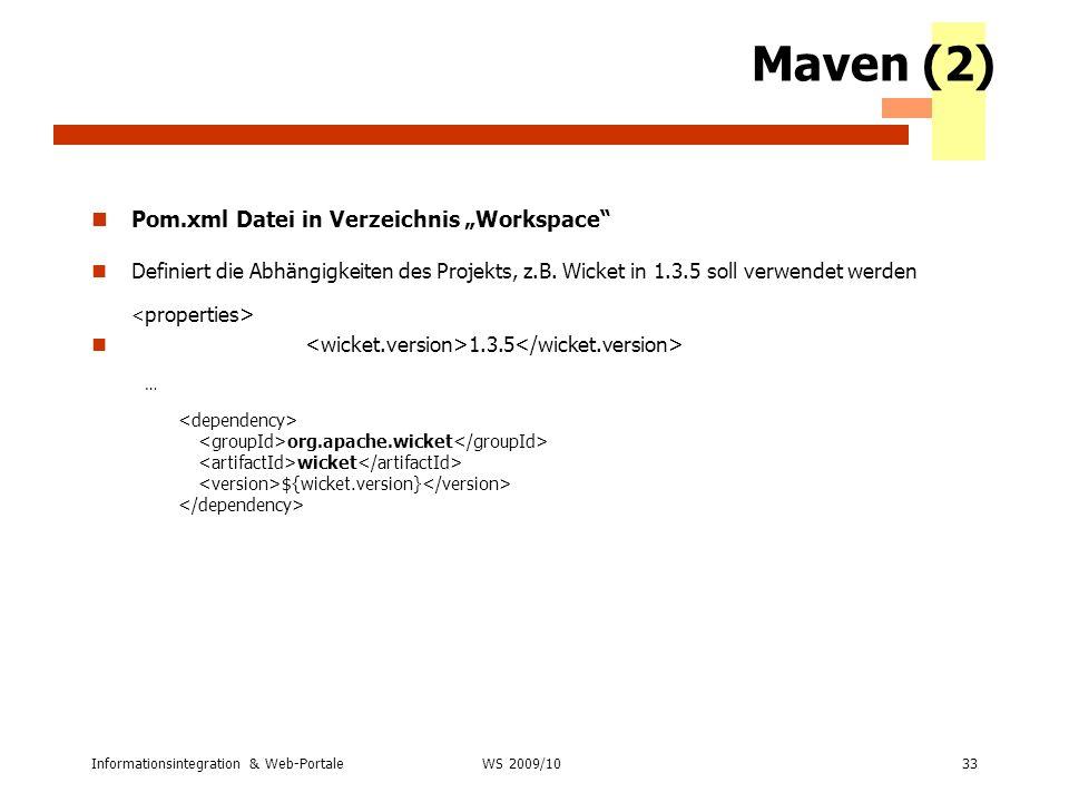 """Maven (2) Pom.xml Datei in Verzeichnis """"Workspace"""