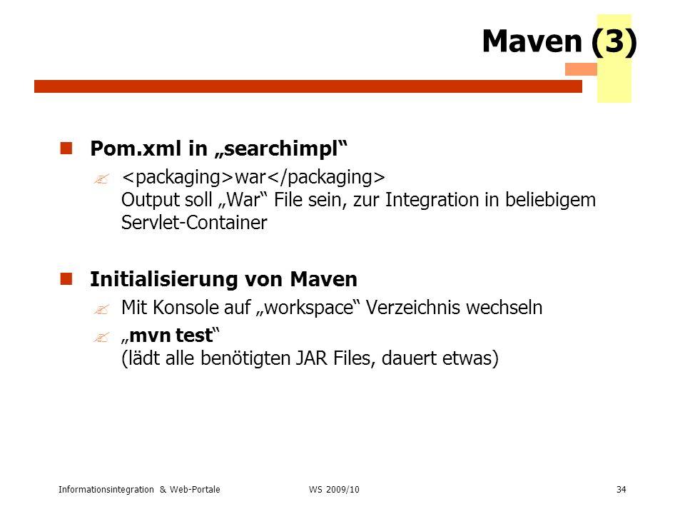 """Maven (3) Pom.xml in """"searchimpl Initialisierung von Maven"""