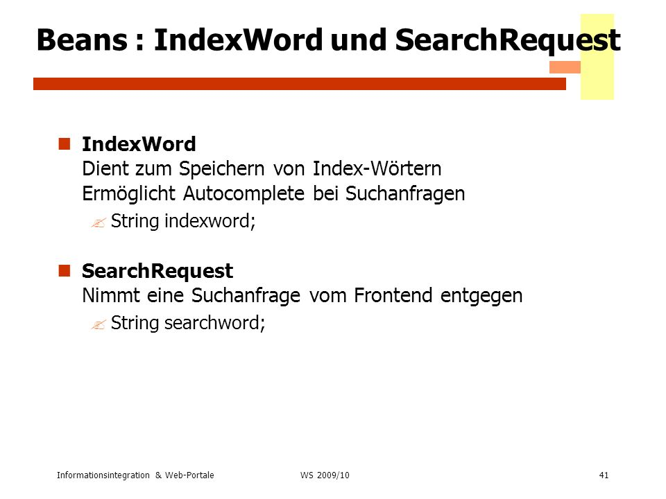 Beans : IndexWord und SearchRequest