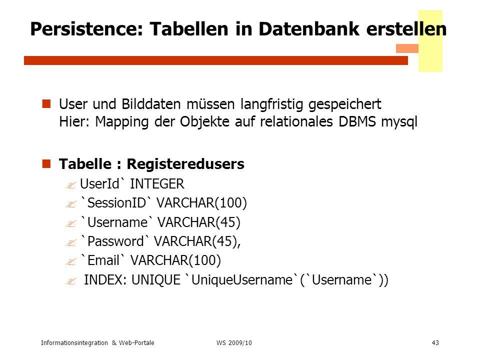 Persistence: Tabellen in Datenbank erstellen