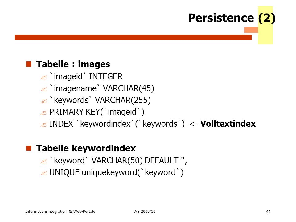 Persistence (2) Tabelle : images Tabelle keywordindex