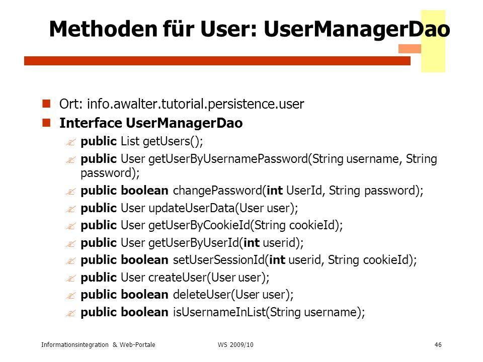 Methoden für User: UserManagerDao