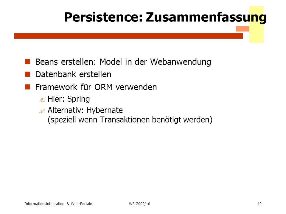 Persistence: Zusammenfassung