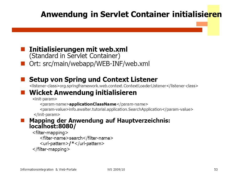 Anwendung in Servlet Container initialisieren