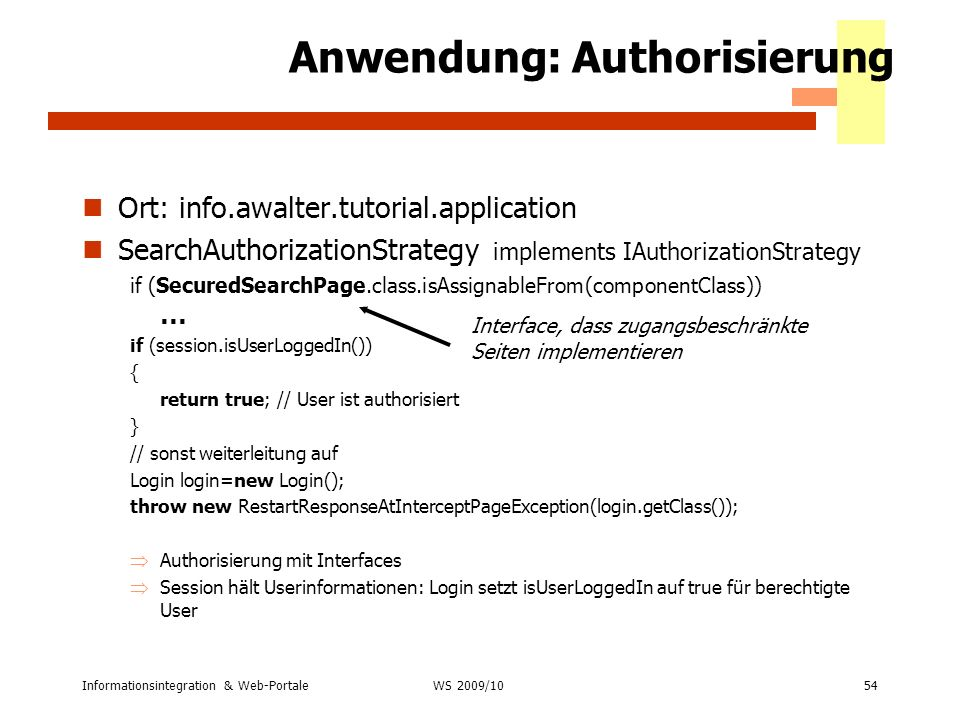 Anwendung: Authorisierung