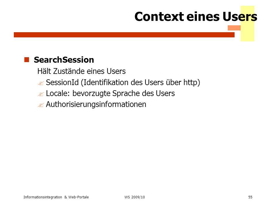 Context eines Users SearchSession Hält Zustände eines Users