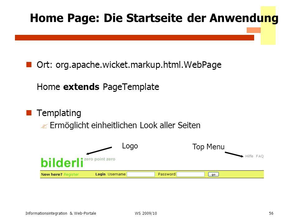 Home Page: Die Startseite der Anwendung