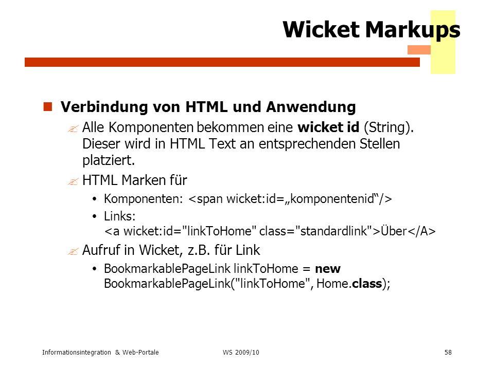 Wicket Markups Verbindung von HTML und Anwendung