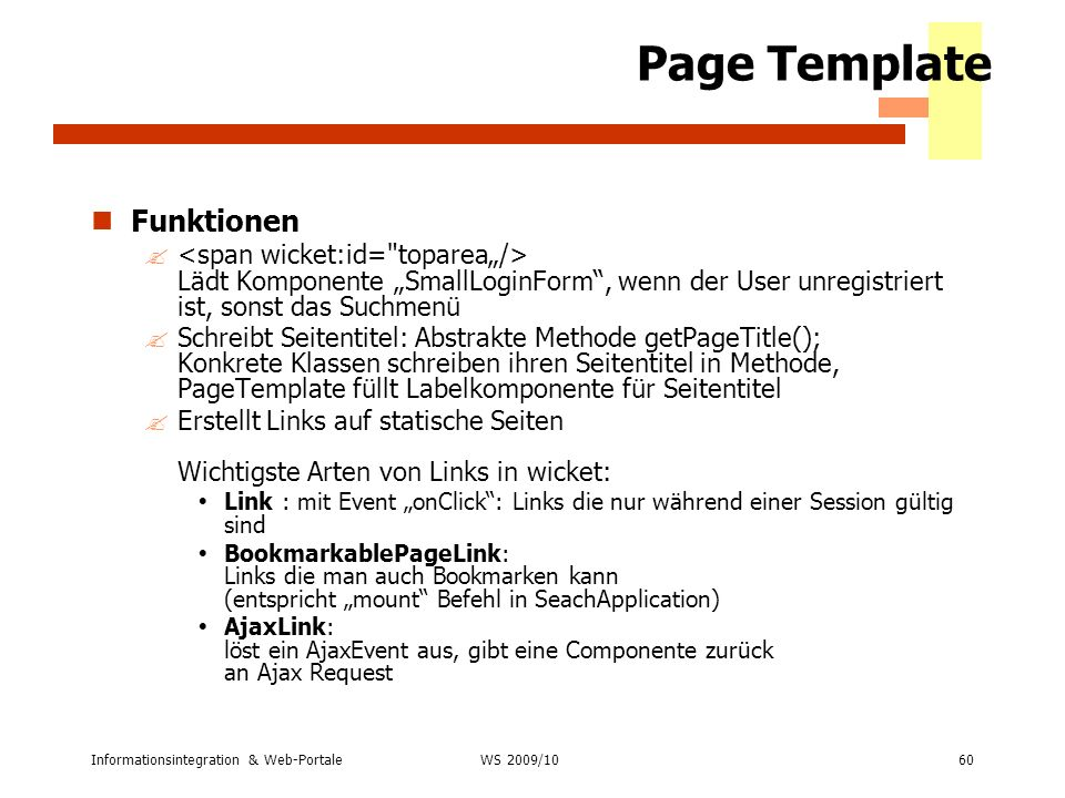 Page Template Funktionen