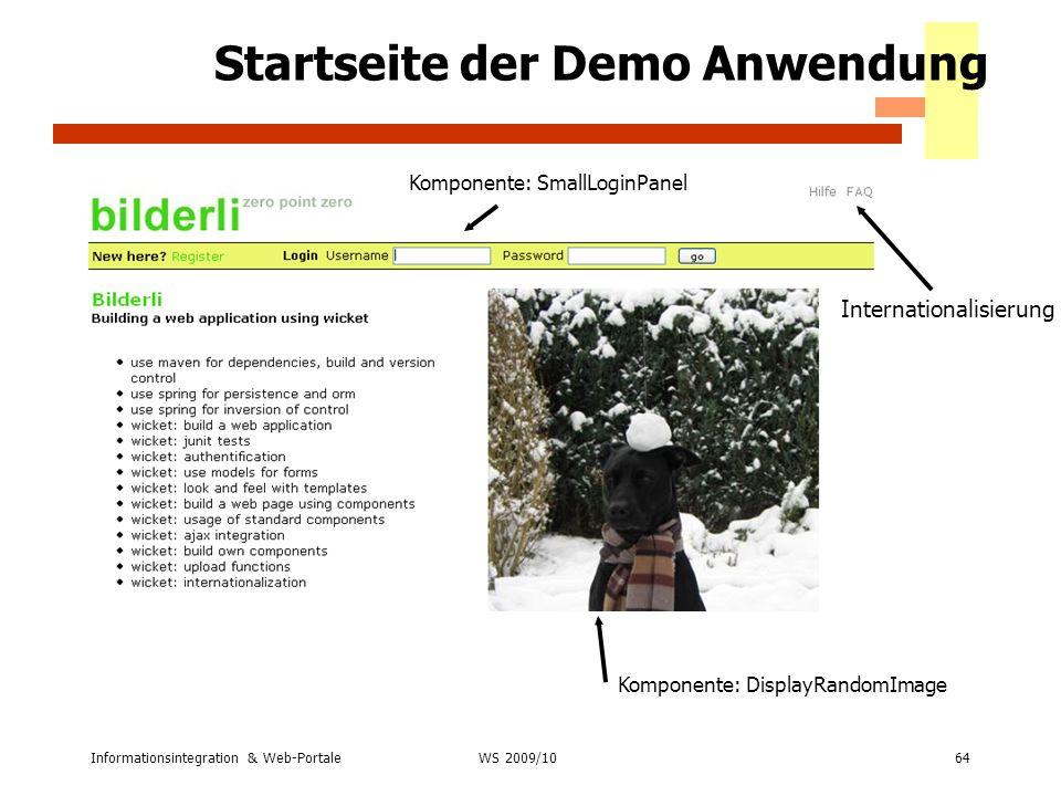 Startseite der Demo Anwendung