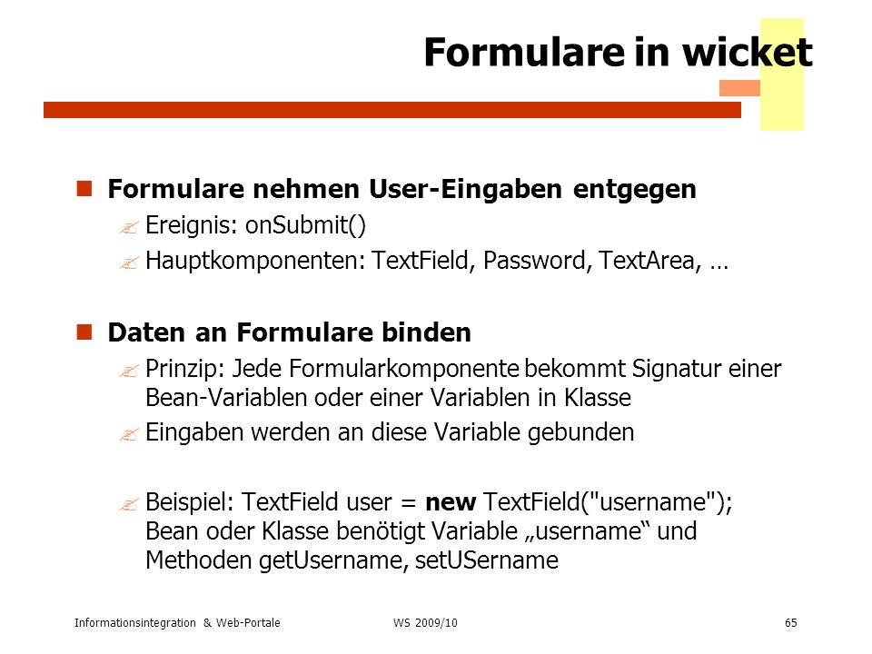 Formulare in wicket Formulare nehmen User-Eingaben entgegen
