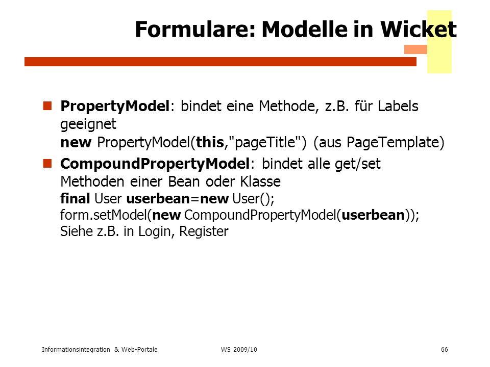 Formulare: Modelle in Wicket