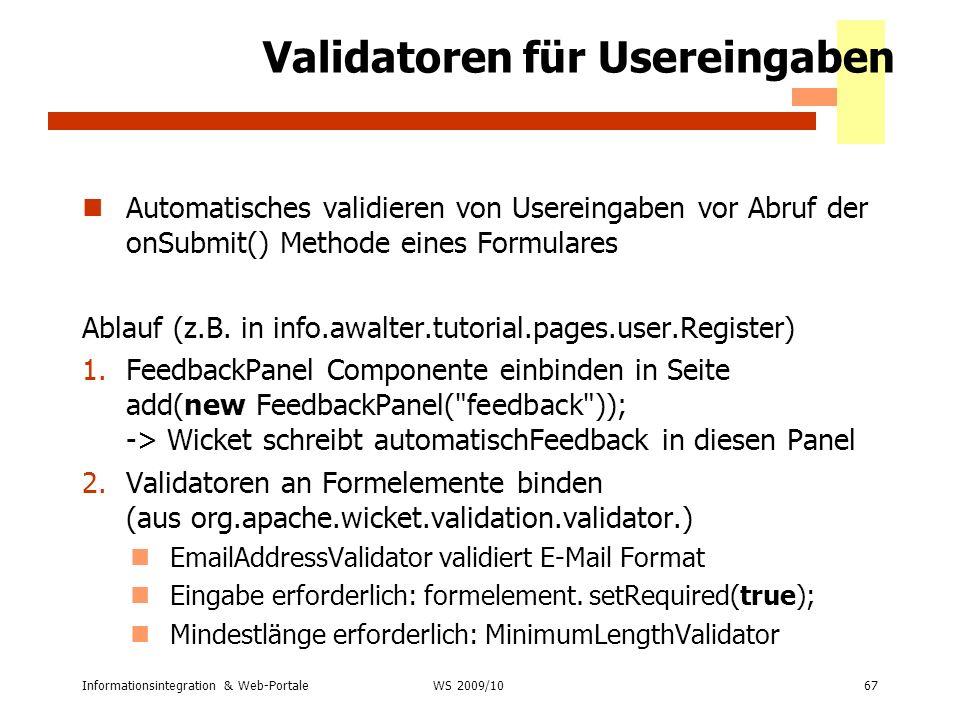 Validatoren für Usereingaben