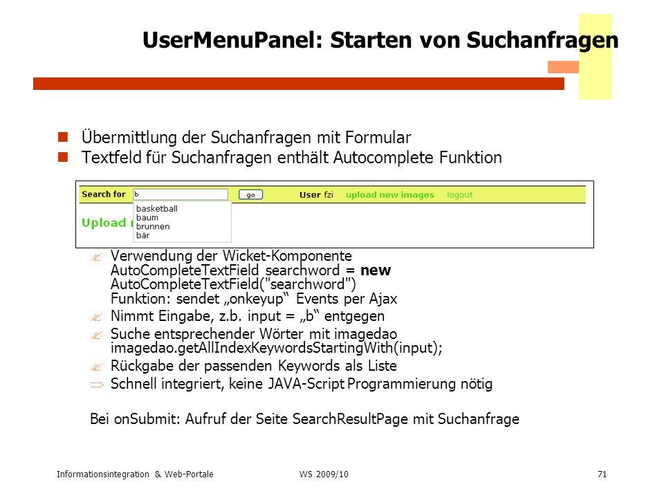 UserMenuPanel: Starten von Suchanfragen