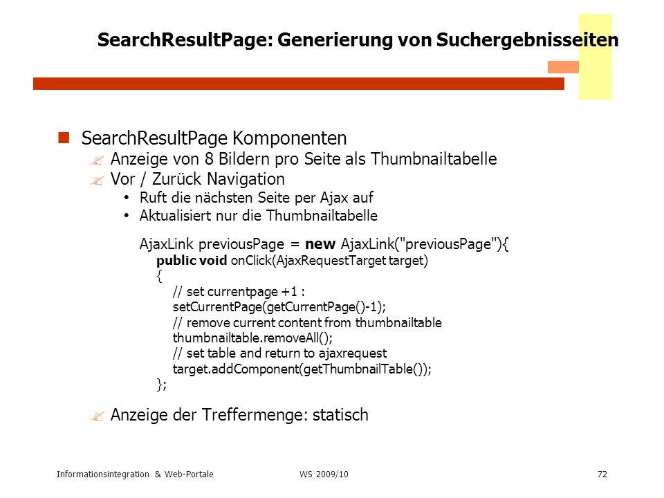 SearchResultPage: Generierung von Suchergebnisseiten