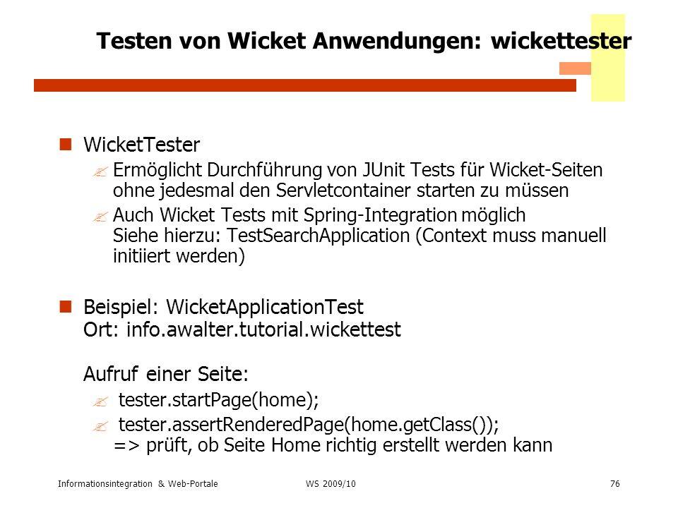 Testen von Wicket Anwendungen: wickettester