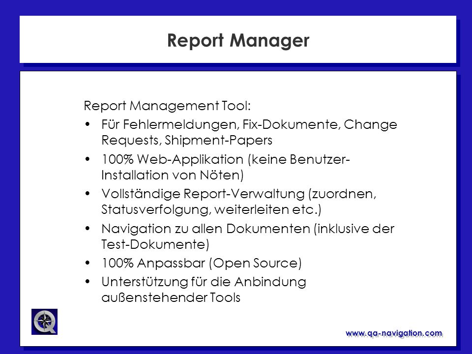 Report Manager Report Management Tool: