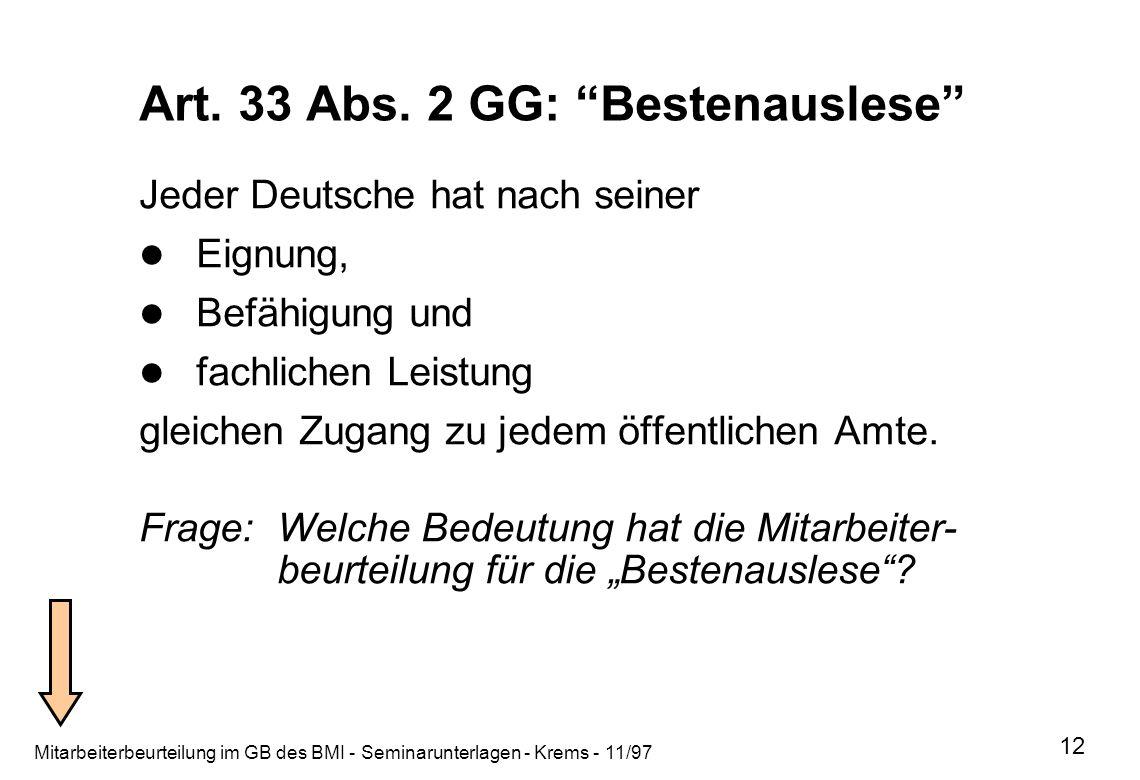 Art. 33 Abs. 2 GG: Bestenauslese